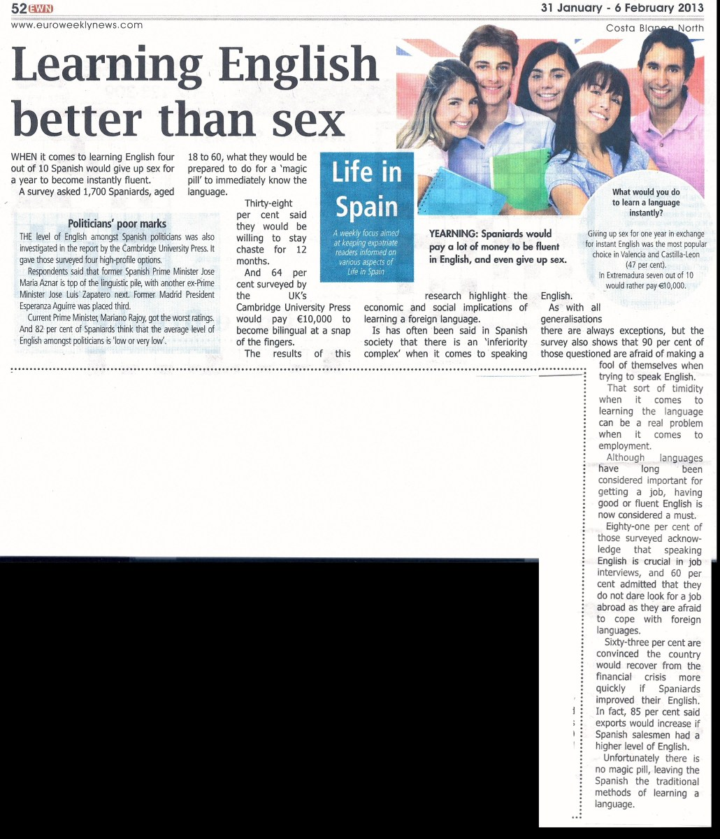 Is learning English better than s*x? (See newspaper cutting.)