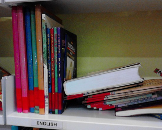 Children's books in English in local library in Spain