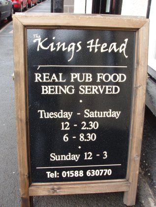 Pub food timetable - Bishop's Castle, Shropshire
