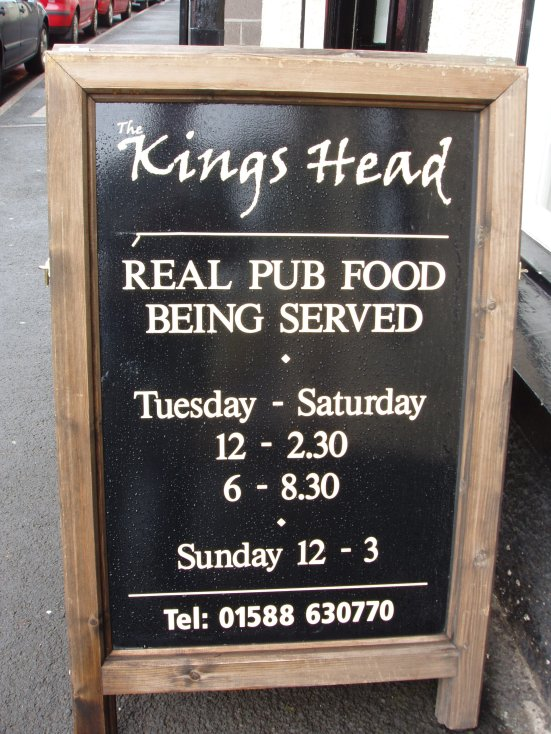 Pub food timetable - Bishop's Castle, Shropshire