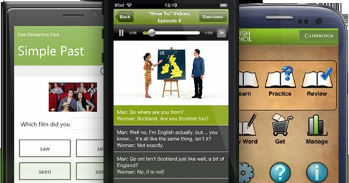 Learn English apps for smartphones