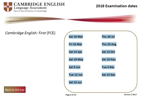 Cambridge First exam dates 2018 fechas examen